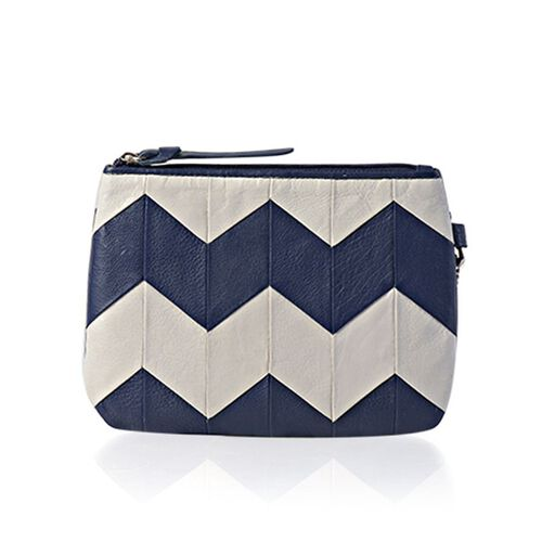 Genuine Leather Zig Zag Pattern Silver Grey and Dark Blue Colour Pouch (Size 18.5x13.5 Cm)