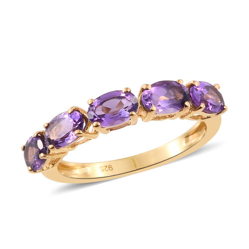 Amethyst 2 Carat Silver 5 Stone Ring in Gold Overlay