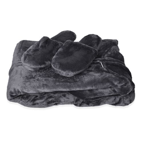 Designer Inspired-Black Colour Flannel Wrap with Hood and Zipper Front (Free Size) and Pair of Slipper (Size 9)