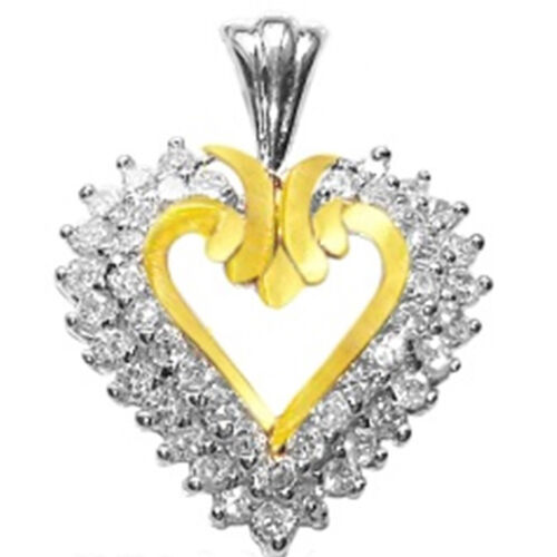 ELANZA AAA Simulated Diamond (Rnd) Heart Pendant in Yellow Gold and Rhodium Plated Sterling Silver