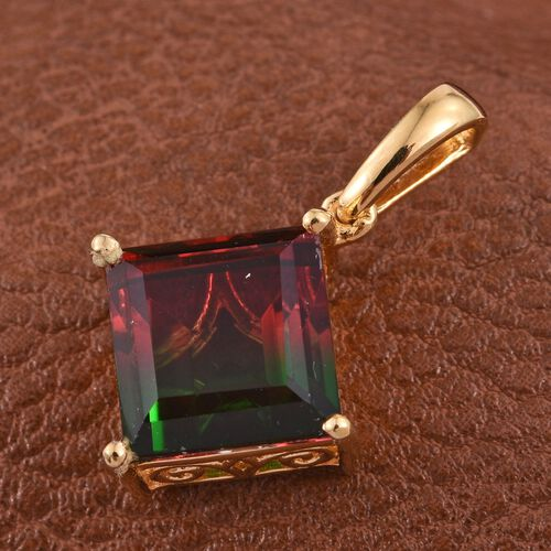Tourmaline Colour Quartz (Sqr) Solitaire Pendant in 14K Gold Overlay Sterling Silver 5.000 Ct.