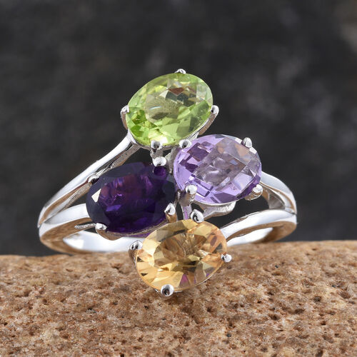Amethyst (Ovl 1.13 Ct), Rose De France Amethyst, Citrine and Hebei Peridot Ring in ION Plated Platinum Bond 4.440 Ct.