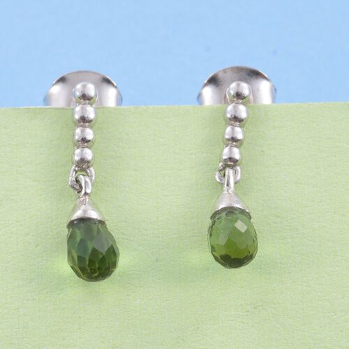 Rare Green Tourmaline Drop Earrings (with Push Back) in Platinum Overlay Sterling Silver 1.250 Ct.