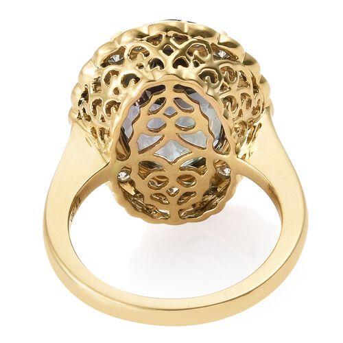 ILIANA 18K Yellow Gold AAA Peacock Tanzanite (Ovl 11.30 Ct), Diamond (SI/G-H) Ring 12.400 Ct.