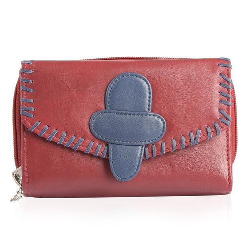 100% Genuine Leather RFID Blocker Burgundy and Navy Colour Ladies Wallet (Size 16X11X1 Cm)