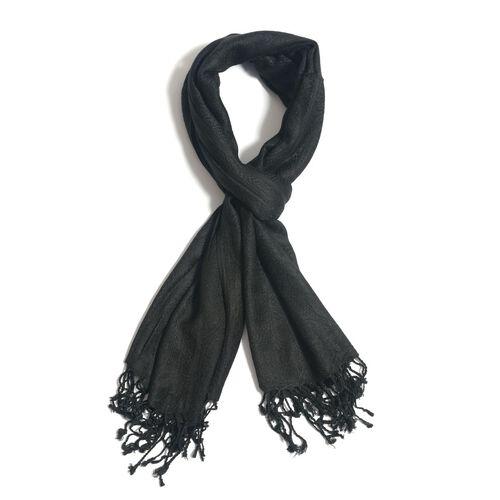 Jacquard Pattern Black Colour Shawl (Size 70x170 Cm)