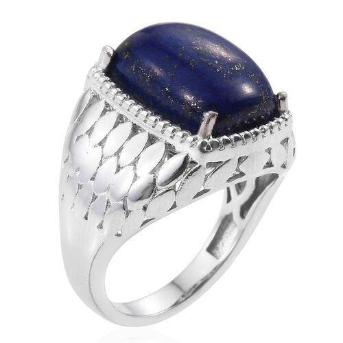 Lapis Lazuli (Cush) Solitaire Ring in ION Plated Platinum Bond 6.250 Ct.