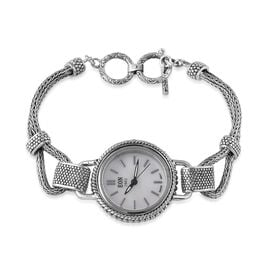 Bali Collection - EON 1962 Swiss Movement White Dial 3ATM Water Resistant Bracelet Watch (Size 7.5) in Sterling Silver and Stainless Steel, Silver wt 22.94 Gms.