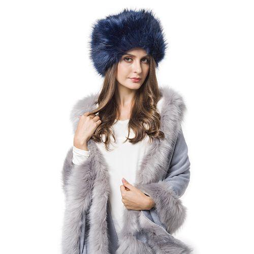 Dark Blue Colour Faux Fur Cossack Hat (Size 20X13 Cm)