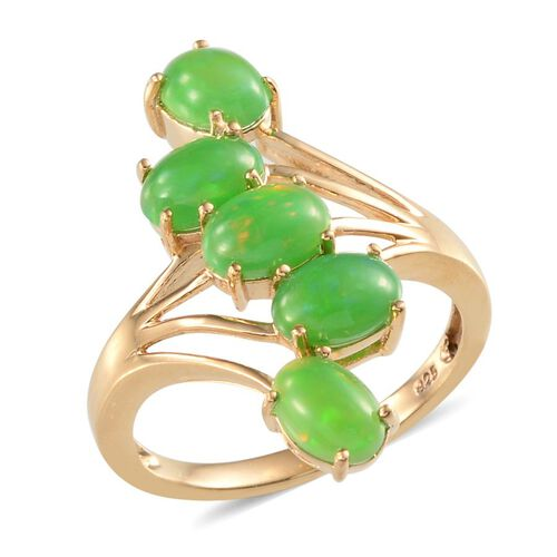 Green Ethiopian Opal (Ovl) 5 Stone Crossover Ring in 14K Gold Overlay Sterling Silver 3.000 Ct.