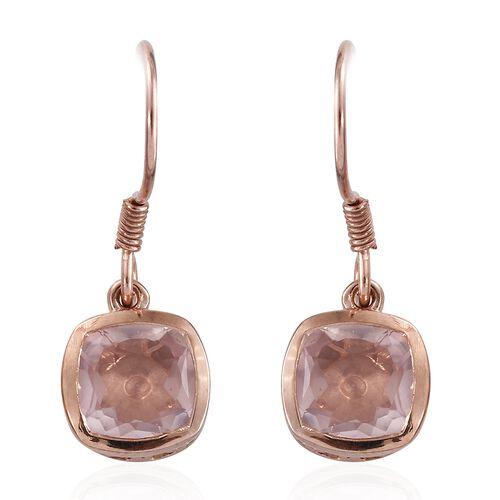 Rose Quartz (Cush) Hook Earrings in Rose Gold Overlay Sterling Silver 5.000 Ct.