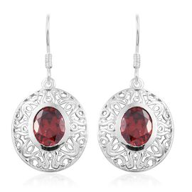 Limited Edition-ELANZA AAA Simulated Red Sapphire (Ovl) Hook Earrings in Sterling Silver.Silver Wt 5.00 Gms
