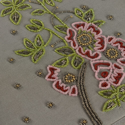 Flowers and Leaves Hand Embroidered and Beads Emebellished Silver Colour 100 Slot Ring Box (Size 25.5X25.5X6 Cm)