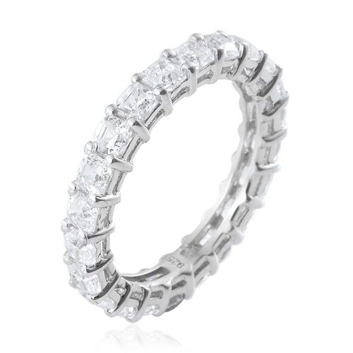 J Francis - Asscher Cut Platinum Overlay Sterling Silver (Oct) Full Eternity Ring Made with SWAROVSKI ZIRCONIA
