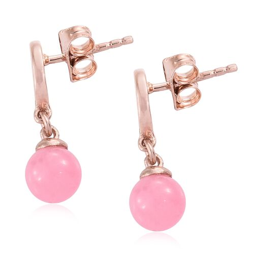 Pink Jade (Rnd) Earrings (with Push Back) in Rose Gold Overlay Sterling Silver 3.750 Ct.