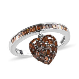 GP Red Diamond (Bgt), Kanchanaburi Blue Sapphire Heart Charm Ring in Black Rhodium and Platinum Overlay Sterling Silver 0.520 Ct.