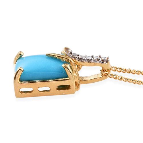 Arizona Sleeping Beauty Turquoise (Oct) Solitaire Pendant With Chain in 14K Gold Overlay Sterling Silver 1.250 Ct.