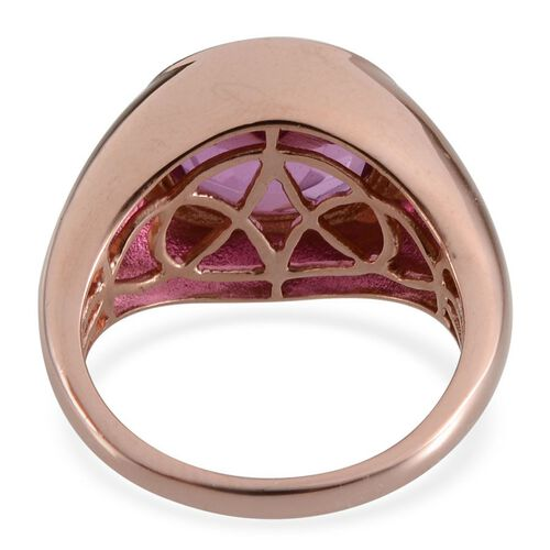 Kunzite Colour Quartz (Ovl) Solitaire Ring in Rose Gold Overlay Sterling Silver 5.750 Ct. Silver wt 5.90 Gms.
