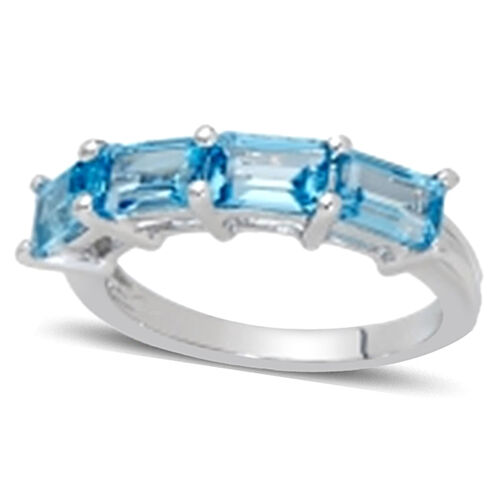 Swiss Blue Topaz (Oct) Half Eternity Ring in Sterling Silver 2.750 Ct.