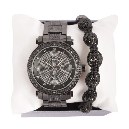 GENOA Japanese Movement White Austrian Crystal Watch with Black Austrian Crystal and Hematite Adjustable Bracelet