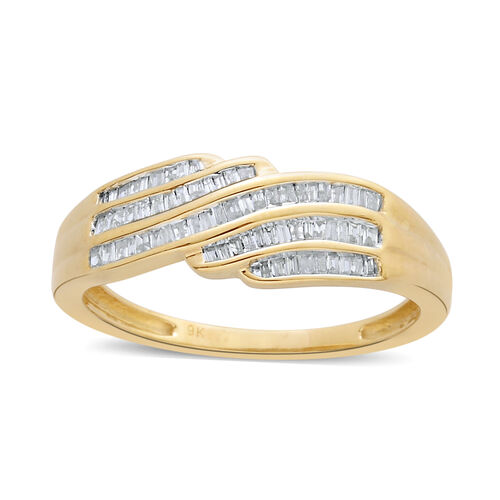 9K Y Gold SGL Cerified Diamond (Bgt) (I 3/G-H) Ring 0.250 Ct.