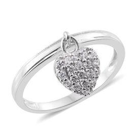J Francis - Platinum Overlay Sterling Silver (Rnd) Heart Charm Ring Made with SWAROVSKI ZIRCONIA