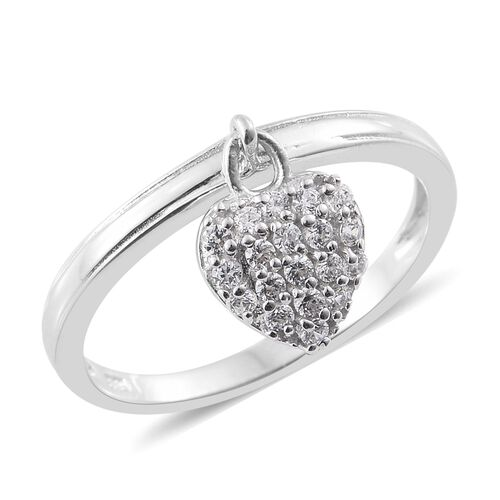 J Francis - Platinum Overlay Sterling Silver (Rnd) Heart Charm Ring Made with SWAROVSKI ZIRCONIA