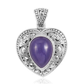 Royal Bali Collection Purple Jade (Pear 16x12mm) Heart Pendant in Sterling Silver 7.500 Ct. Silver wt 5.40 Gms.
