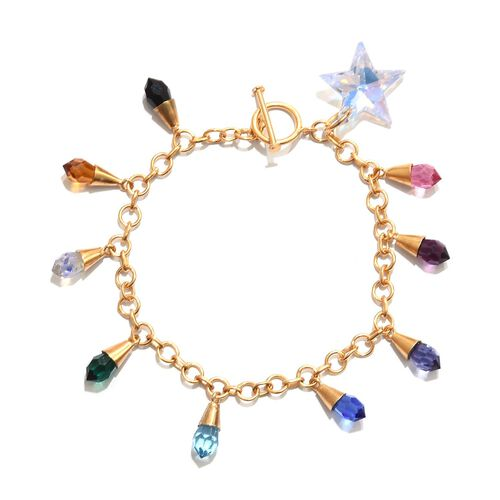 Super Auction - J Francis Crystal From Swarovski - Rainbow Colour Crystal Charm Bracelet (Size 7.5) in 14K Gold Overlay Sterling Silver