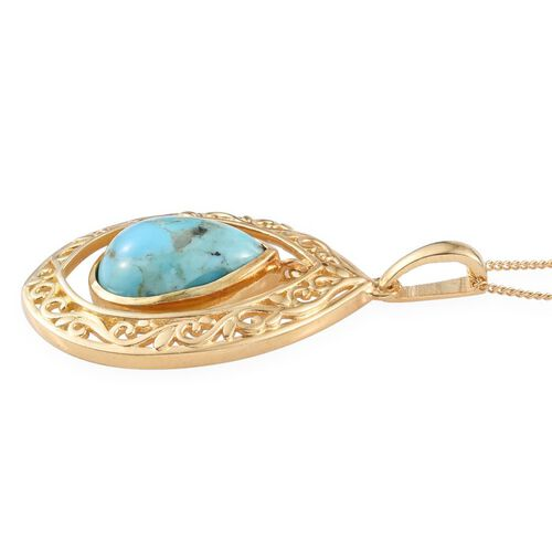 Arizona Matrix Turquoise (Pear) Solitaire Pendant With Chain in 14K Gold Overlay Sterling Silver 3.750 Ct.