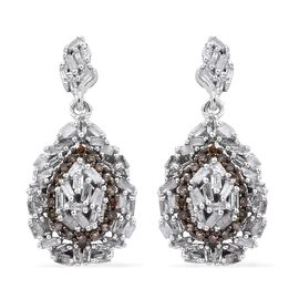 GP White Diamond (Bgt), Natural Champagne Diamond and Kanchanaburi Blue Sapphire Earrings (with Push Back) in Platinum Overlay Sterling Silver 0.770 Ct.