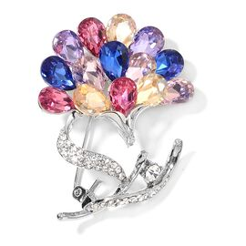 Designer Inspired-Simulated Multi Colour Diamond and White Austrian Crystal Floral Brooch in Silver Tone