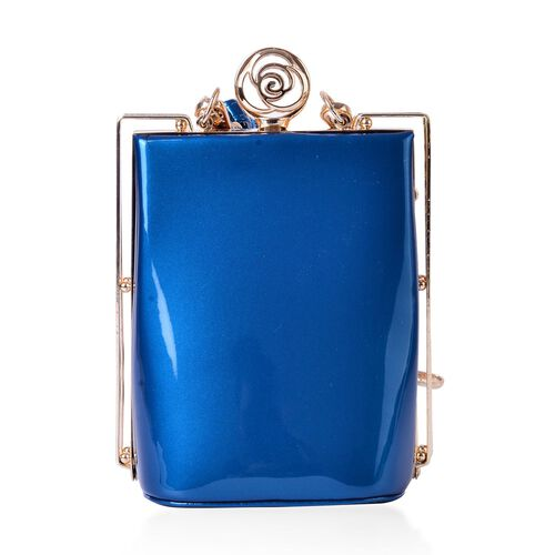 Peacock Blue Colour Clutch Bag with Adjustable and Removable Shoulder Strap (Size 17x13x10 Cm)