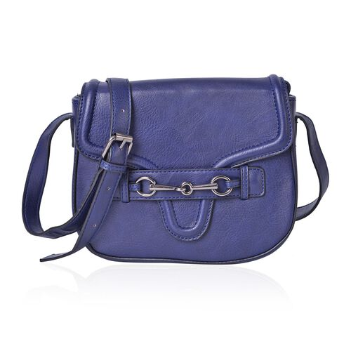 Navy Colour Horsebit Buckle Design Crossbody Bag with Adjustable Shoulder Strap (Size 22.5X19X7.5 Cm)