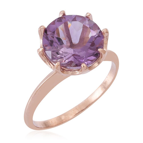 AA Rose De France Amethyst (Rnd) Solitaire Ring in Rose Gold Overlay Sterling Silver 3.500 Ct.