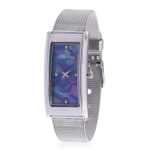 STRADA Japanese Movement White Austrian Crystal Studded Multi Colour Dial Water Resistant Watch in Silver Tone with Stainless Steel Back and Chain Strap