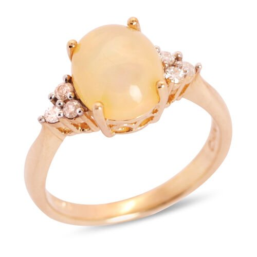 Close Out Deal 14K Y Gold Ethiopian Welo Opal (Ovl 2.00 Ct), Diamond Ring 2.150 Ct.