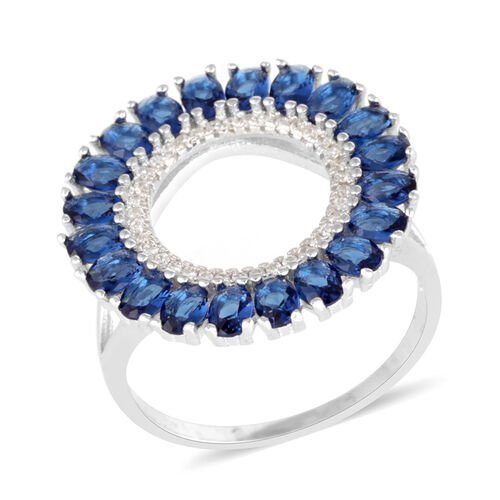 AAA Simulated Tanzanite (Ovl), Simulated Diamond Ring in Rhodium Plated Sterling Silver 5.000 Ct.