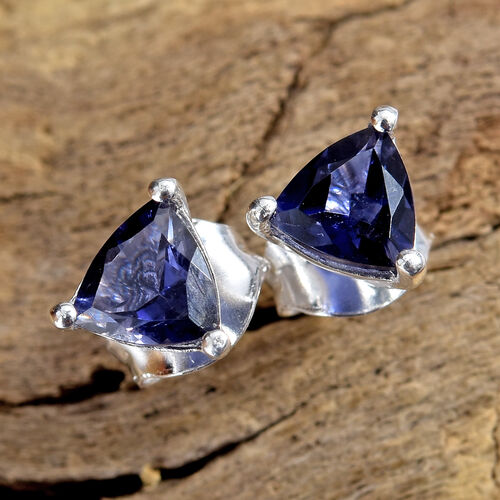 Iolite (Trl) Stud Earrings (with Push Back) in Sterling Silver 0.750 Ct.