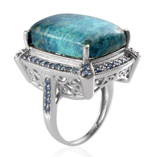 Table Mountain Shadowkite (Cush 22.25 Ct), Kanchanaburi Blue Sapphire Ring in Platinum Overlay Sterling Silver 23.150 Ct.