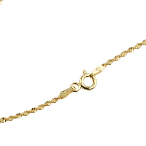 Vicenza Collection 14K Gold Overlay Sterling Silver Diamond Cut Twisted Necklace (Size 30), Silver wt. 4.40 Gms.