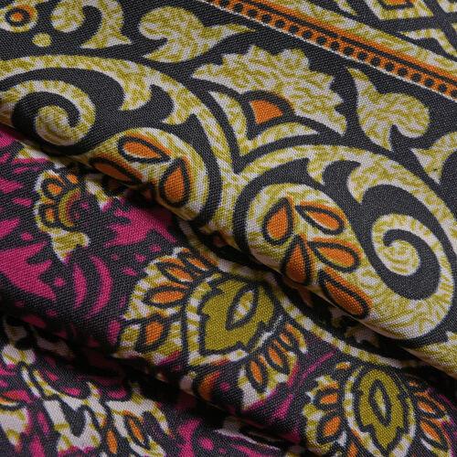 Fuchsia, Orange and Multi Colour Damask Printed Kaftan (Free Size)