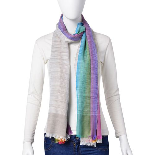 Light Brown, Blue and Multi Colour Stripes Pattern Scarf with Fringes (Size 180X90 Cm)