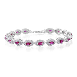 ELANZA AAA Sumilated Ruby (Pear) Simulated White Diamond Bracelet (Size 7.5) in Sterling Silver 4.000 Ct.