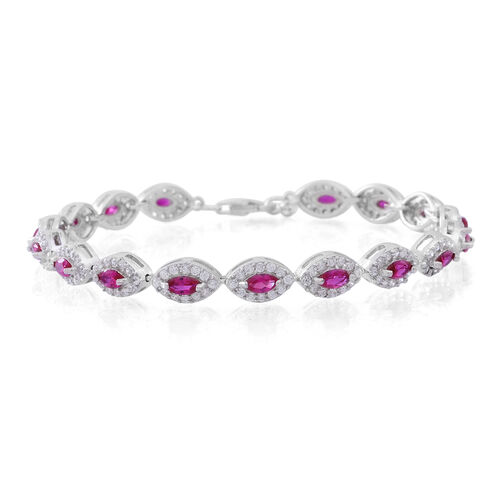 ELANZA AAA Simulated Ruby (Pear) Simulated White Diamond Bracelet (Size 7.5) in Sterling Silver