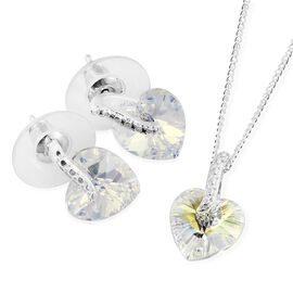 J Francis Crystal from Swarovski - Aurore Boreale Crystal (Hrt) Pendant with Chain and Earrings (with Push Back) in Sterling Silver