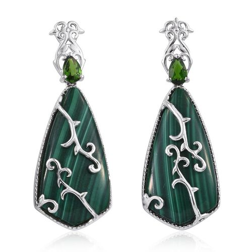 GP Malachite, Russian Diopside and Kanchanaburi Blue Sapphire Earrings (with Push Back) in Platinum Overlay Sterling Silver 44.250 Ct.