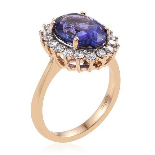ILIANA 18K Yellow Gold 5.50 Carat AAA Tanzanite Oval, Diamond SI G-H Ring.