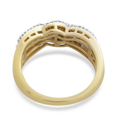 Diamond (Bgt) Criss Cross Ring in 14K Gold Overlay Sterling Silver 0.500 Ct.
