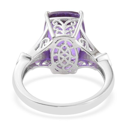 Lavender Alexite (Cush 6.60 Ct), Iolite Ring in Platinum Overlay Sterling Silver 6.750 Ct.
